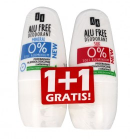 AA Dezodorant roll-on DUO Alu Free Mineral 50ml + Alu Free Silk 50ml gratis