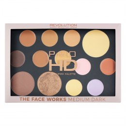 Makeup Revolution Pro HD Palette The Face Works Zestaw do makijażu twarzy medium/dark